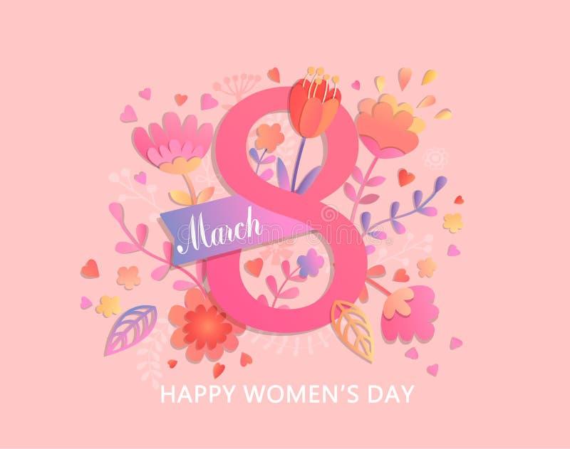Международная карточка дня ` s женщин иллюстрация штока