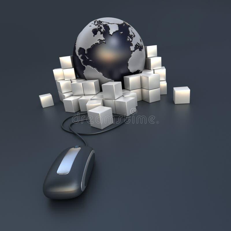 международная он-лайн перевозка груза иллюстрация штока