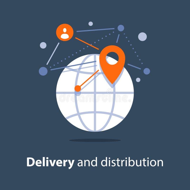 Международная пересылка, глобальная поставка и распределение, организации путешествий иллюстрация вектора