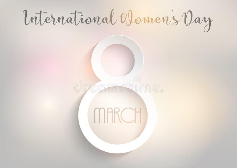 Международная предпосылка дня ` s женщин с светами bokeh конструирует иллюстрация штока