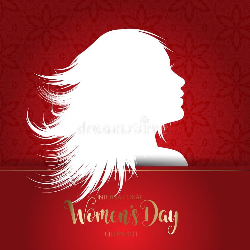 Международная предпосылка дня ` s женщин с силуэтом женского f иллюстрация вектора