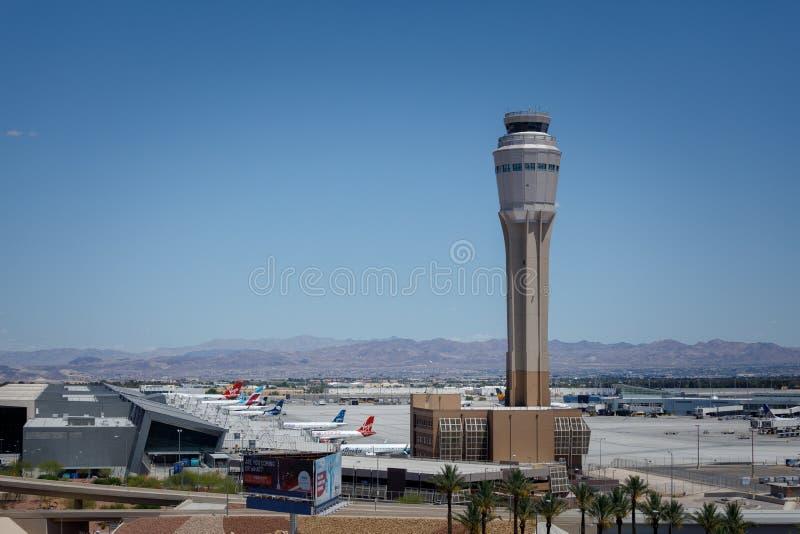 Международный аэропорт McCarran (LAS), расположенный к югу от прокладки Лас-Вегас, главный аэропорт в Неваде стоковое изображение rf