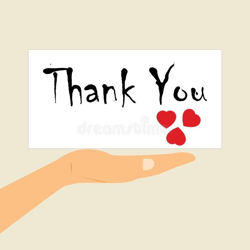 Международный благодарственный день Сообщение на ладони вашей руки иллюстрация вектора