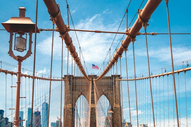 Международный Бруклинский мост ориентира, американский флаг, пасмурная предпосылка голубого неба E стоковые фотографии rf