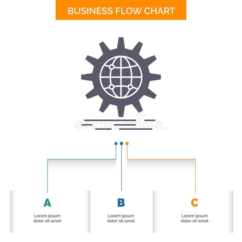 международный, дело, глобус, всемирный, дизайн графика течения дела шестерни с 3 шагами r иллюстрация штока
