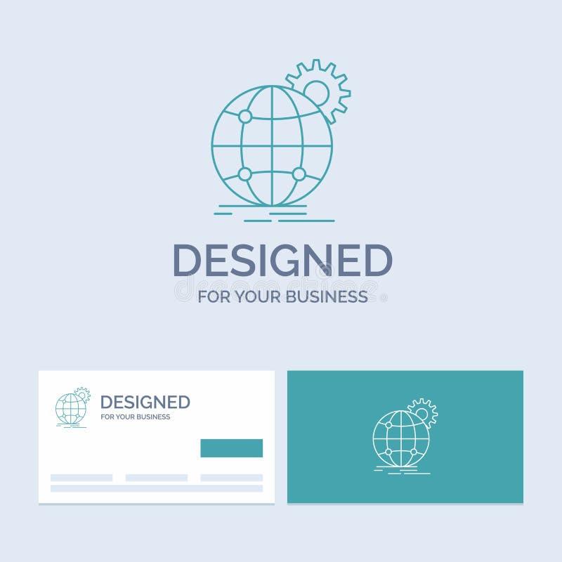международный, дело, глобус, всемирный, линия символ логотипа дела шестерни значка для вашего дела Визитные карточки бирюзы с иллюстрация штока