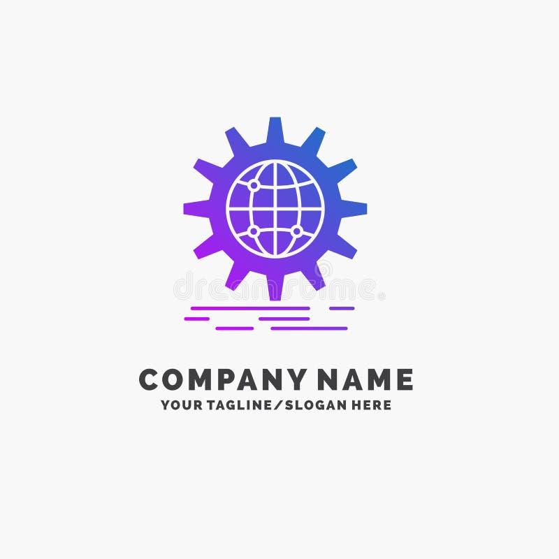 международный, дело, глобус, всемирный, шаблон логотипа дела шестерни пурпурный r иллюстрация штока