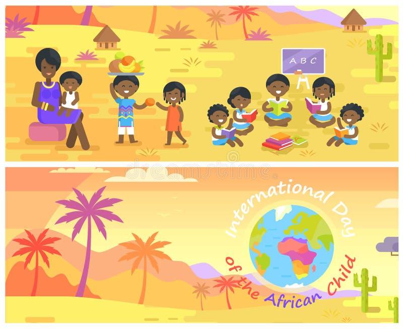 Международный день африканских установленных знамен ребенка иллюстрация вектора