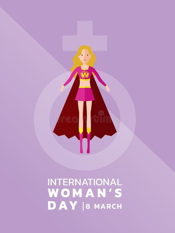 Международный день женщин с героем женщины дамы и женщины подписывают на фиолетовом дизайне вектора знамени иллюстрация штока