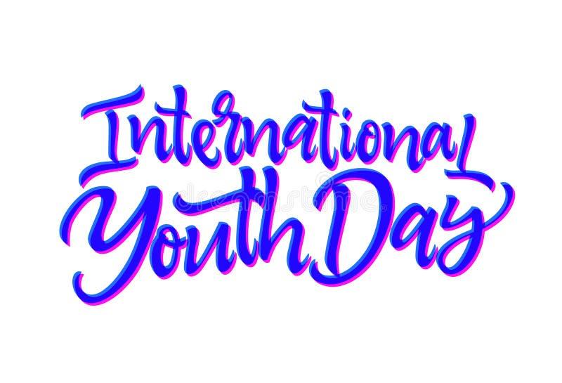Международный день молодости - vector нарисованная рукой литерность ручки щетки бесплатная иллюстрация