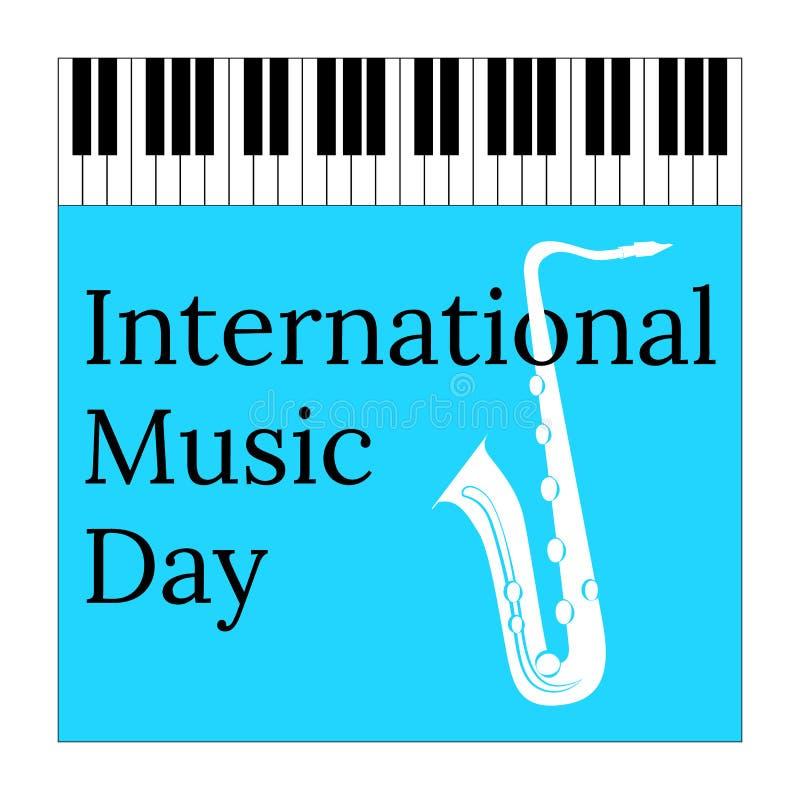 Международный день музыки 1-ое октября Культурный праздник Рояль и саксофон клавиатуры иллюстрация штока