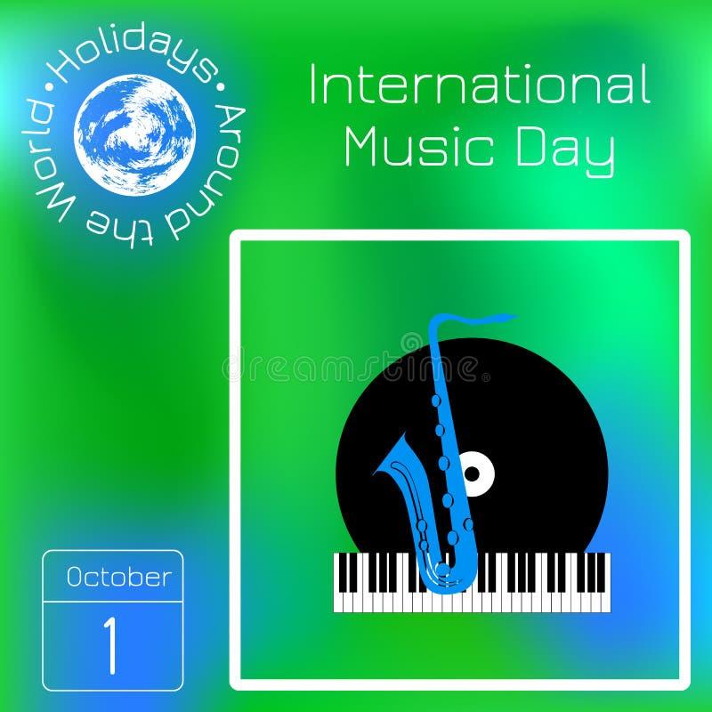 Международный день музыки 1-ое октября Культурный праздник Рояль клавиатуры, показатель винила и саксофон Календарь Праздники вок иллюстрация штока
