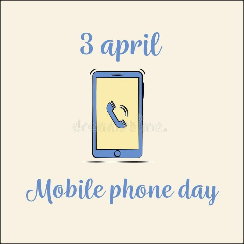 Международный день телефона стиль вектора смартфона плоский иллюстрация вектора