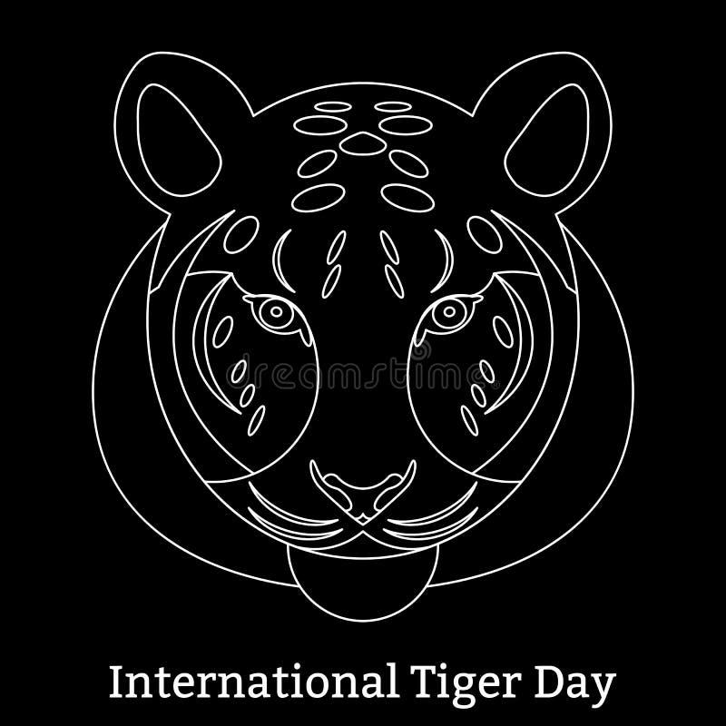 Международный день тигра 29-ое июля Одичалое млекопитающее животное линейный стиль иллюстрация штока