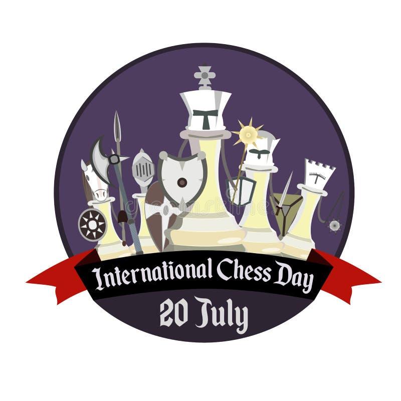 Международный день шахмат, иллюстрация с стилизованным шахмат рыцаря стоковая фотография