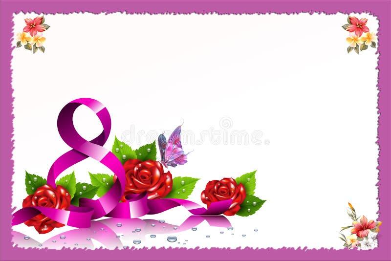 Международный день ` s женщины Польза как значок, плакат, брошюра, карточка, социальные средства массовой информации вывешивает 8 бесплатная иллюстрация