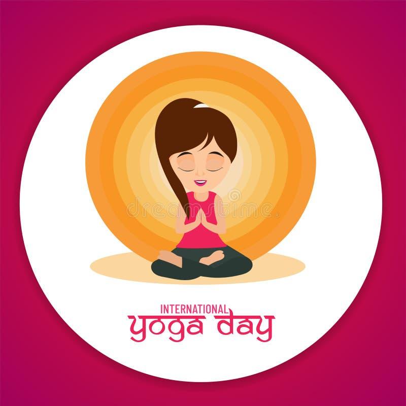 Международный дизайн плаката или летчика дня йоги, персонаж из мультфильма женщины в представлении раздумья иллюстрация штока