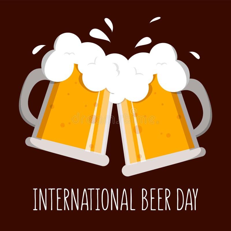 Международный дизайн поздравительной открытки дня пива E иллюстрация вектора