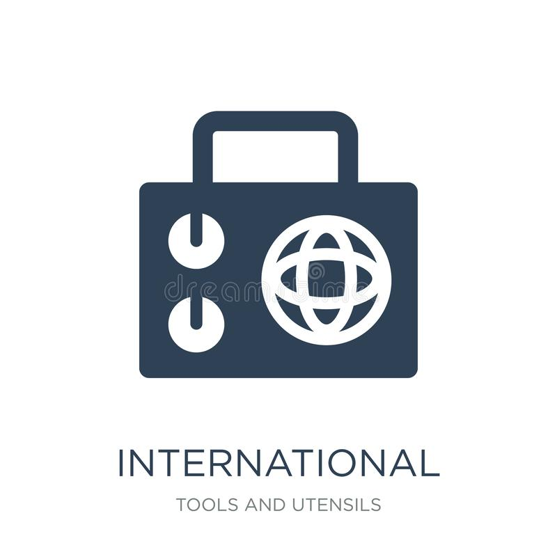 международный журнал значком радио в ультрамодном стиле дизайна международный журнал значком радио изолированным на белой предпос иллюстрация вектора