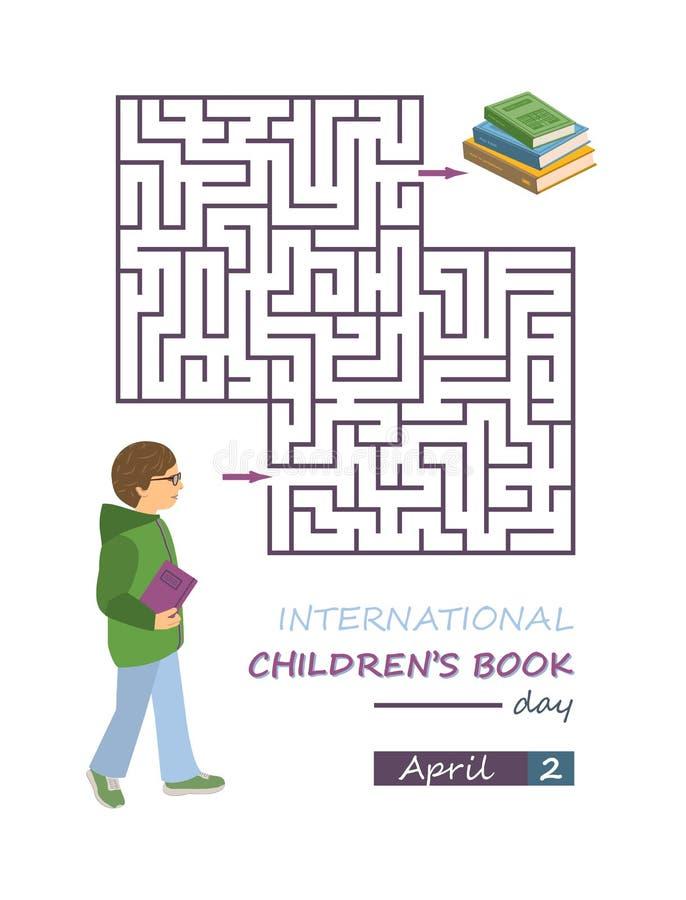 Международный плакат дня книги ` s детей, игра лабиринта лабиринта стоковые фотографии rf
