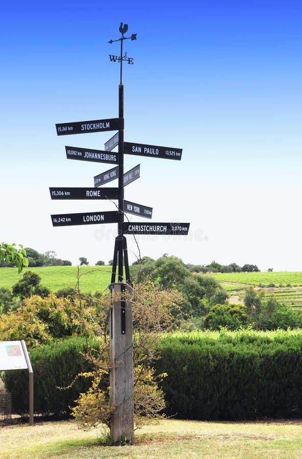 Международный столб знака в зоне винодельни Вейл McLaren стоковая фотография rf