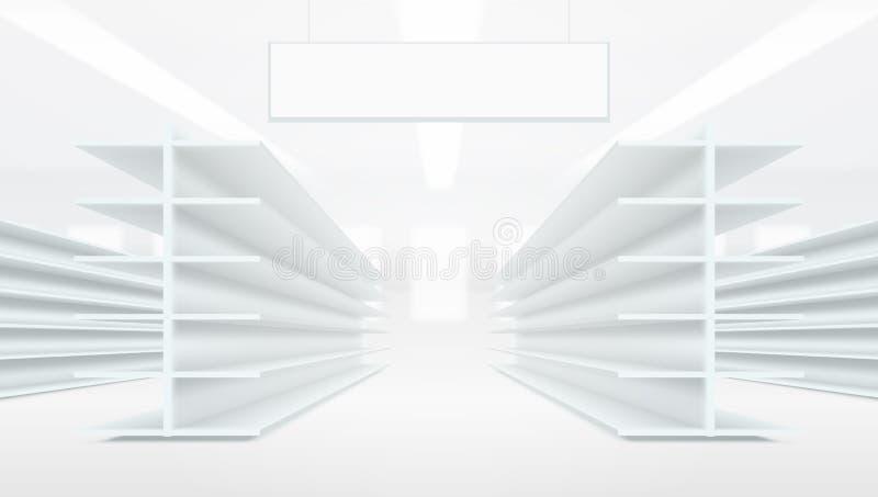 междурядье супермаркета 3D с белыми пустыми пустыми полками иллюстрация штока