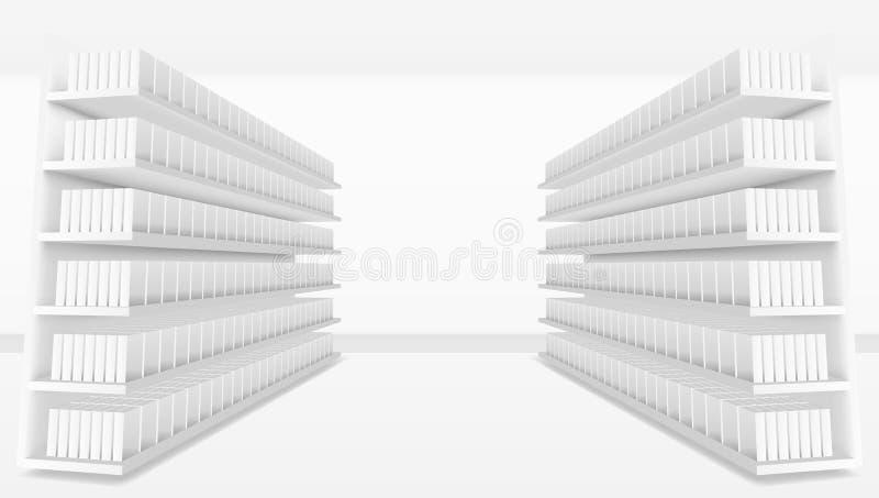 междурядье супермаркета 3D с белыми пустыми полными полками иллюстрация вектора