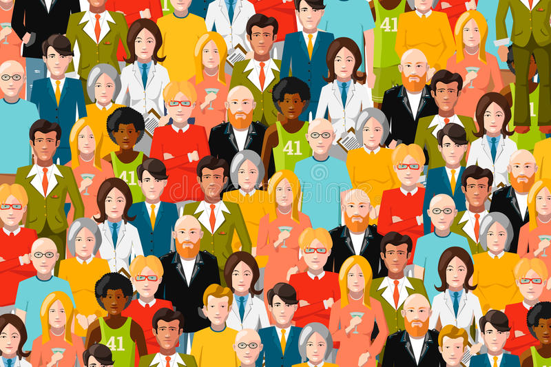 Международная толпа людей, плоской иллюстрации иллюстрация штока