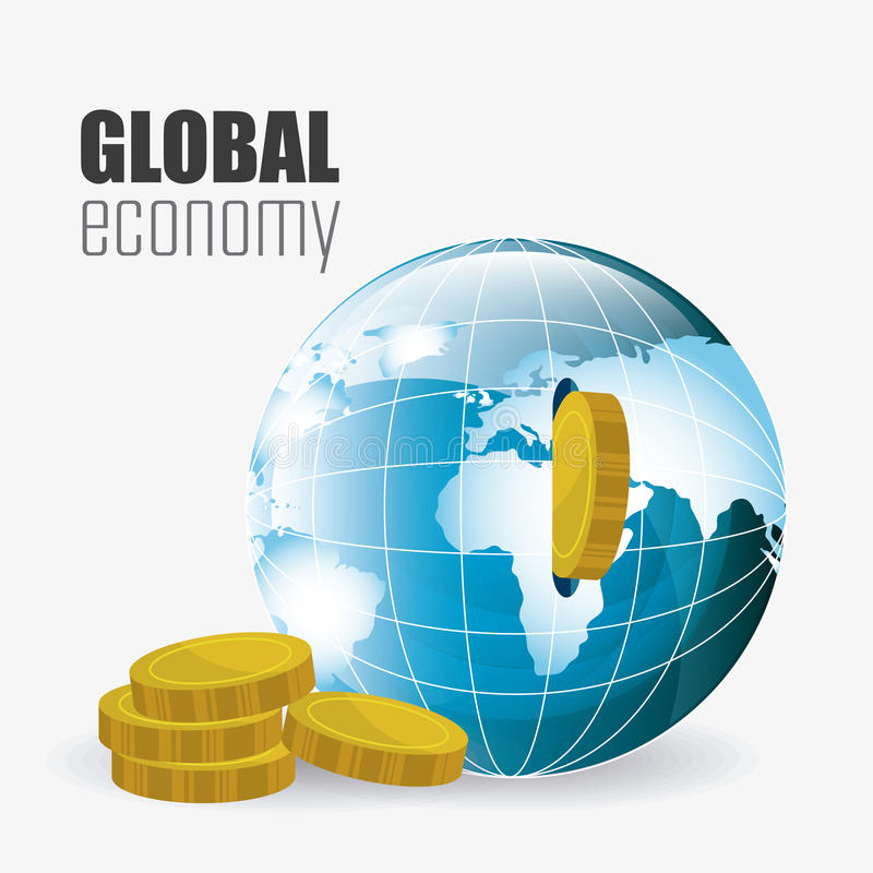 Международная экономика, деньги и дело иллюстрация штока