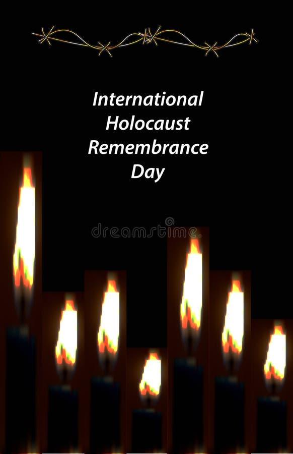 Международное день памяти погибших в первую и вторую мировые войны холокоста 27-ое января древнееврейско Vec стоковое изображение