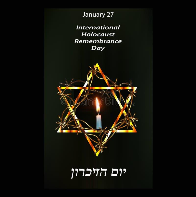 Международное день памяти погибших в первую и вторую мировые войны холокоста 27-ое января древнееврейско Vec стоковые фото