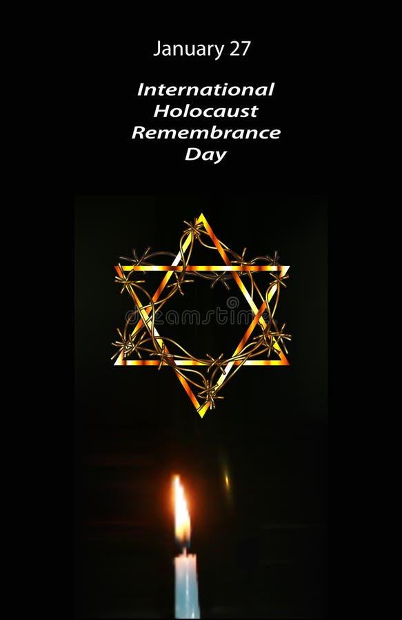 Международное день памяти погибших в первую и вторую мировые войны холокоста 27-ое января древнееврейско Vec стоковые изображения