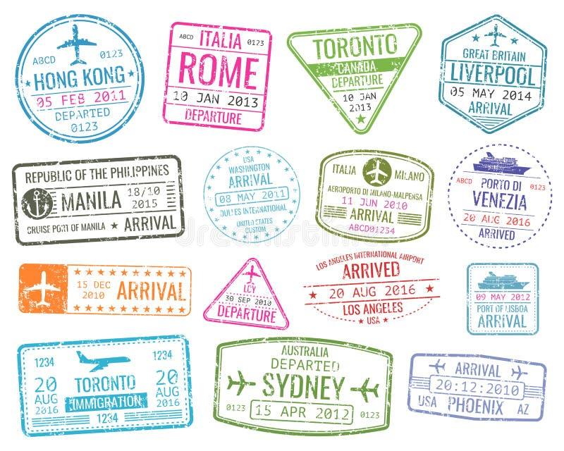 Международные прибытия вектора штемпелей визы деловых поездок подписывают комплект иллюстрация штока