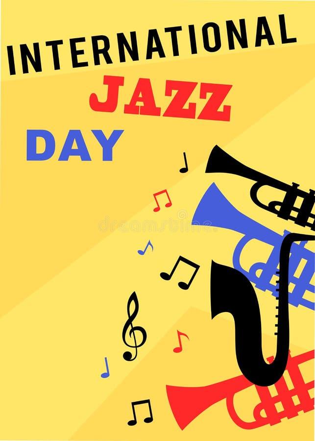 Международные плакат и рогулька дня джаза иллюстрация штока