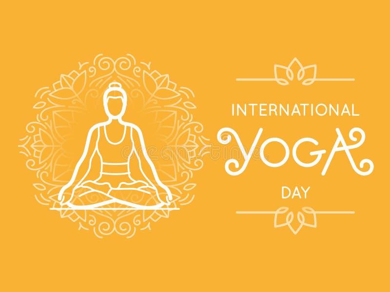 Международный день йоги иллюстрация штока