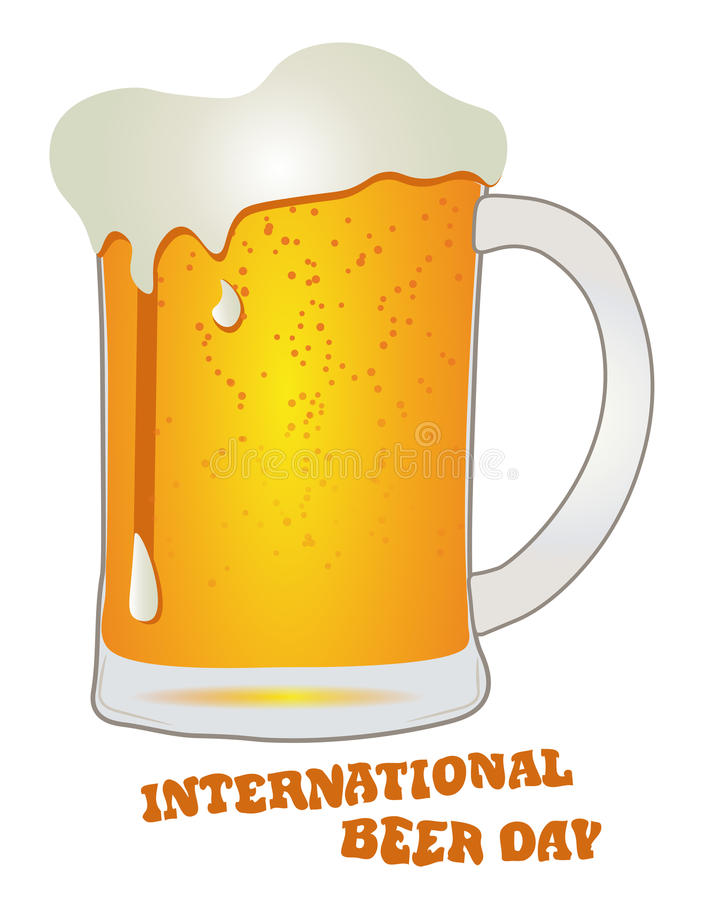 Международный день пива, августовское стекло с пивом, вектором иллюстрация вектора