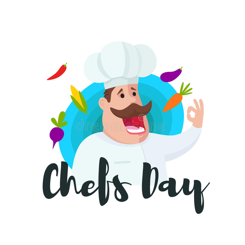 Международный день шеф-поваров Милое chefcook стоковое изображение rf