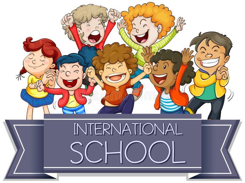 Международный знак школы с счастливыми детьми иллюстрация штока