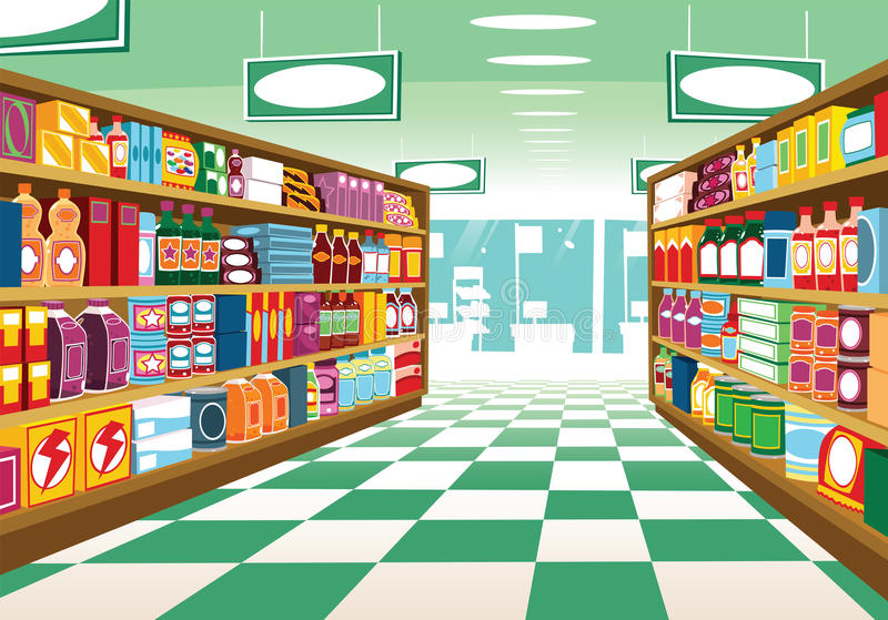 Междурядье Гонконг супермаркета иллюстрация штока