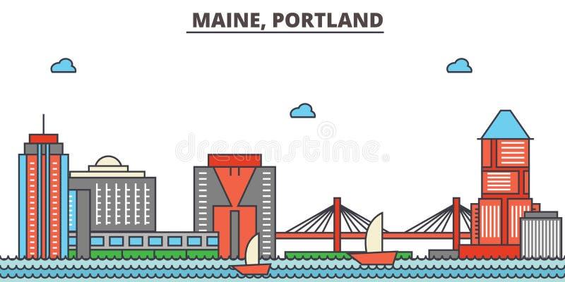 Мейн, Портленд вектор горизонта конструкции города предпосылки ваш бесплатная иллюстрация