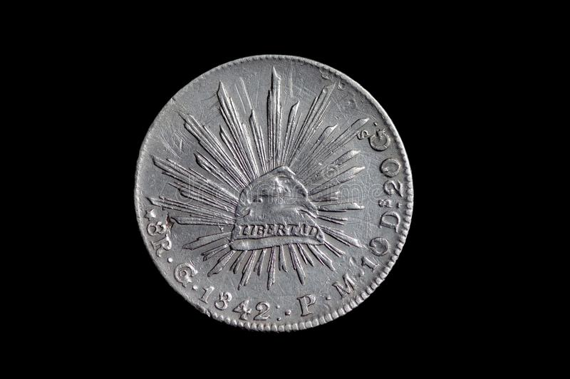 Мексиканец серебряная монета 1842 8 reals стоковые фотографии rf