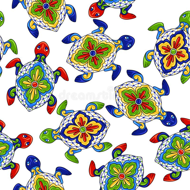 Мексиканская безшовная картина с черепахами иллюстрация вектора