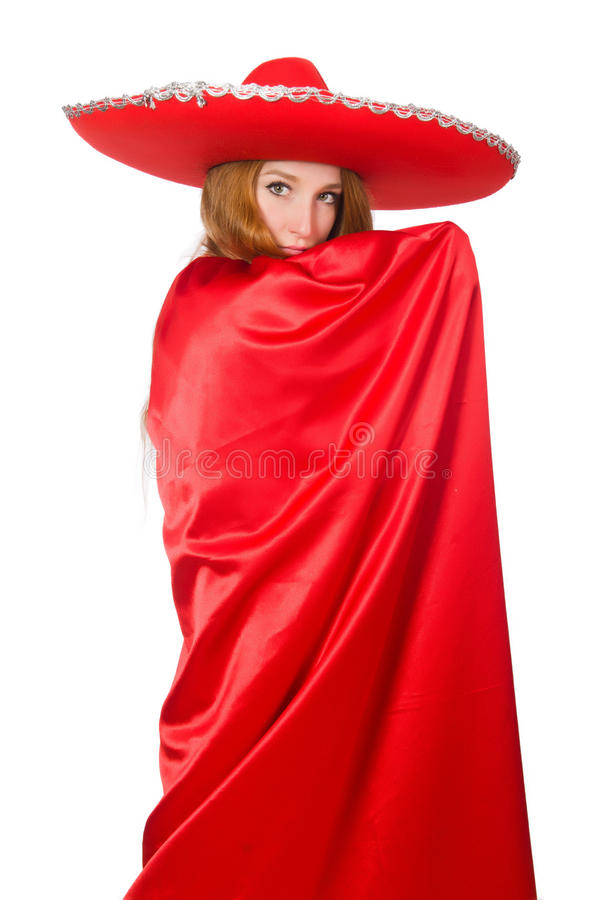 Мексиканская женщина в красной одежде стоковое изображение rf
