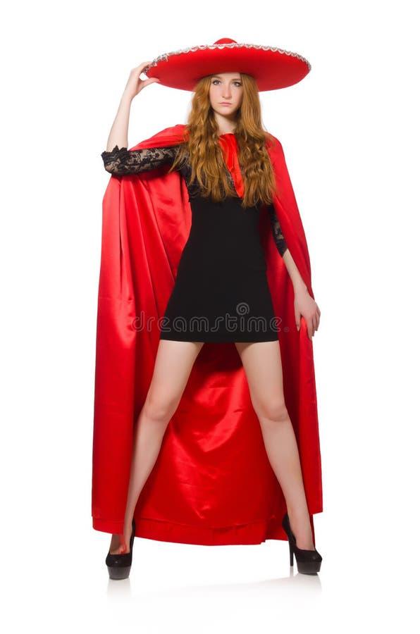 Мексиканская женщина в красной одежде стоковые изображения