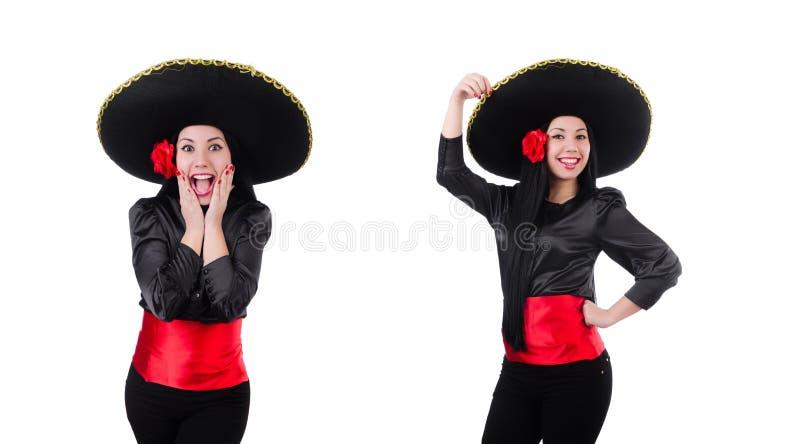 Мексиканская женщина изолированная на белой предпосылке стоковое фото rf