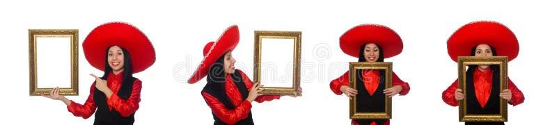 Мексиканская женщина с картинной рамкой на белизне стоковое фото