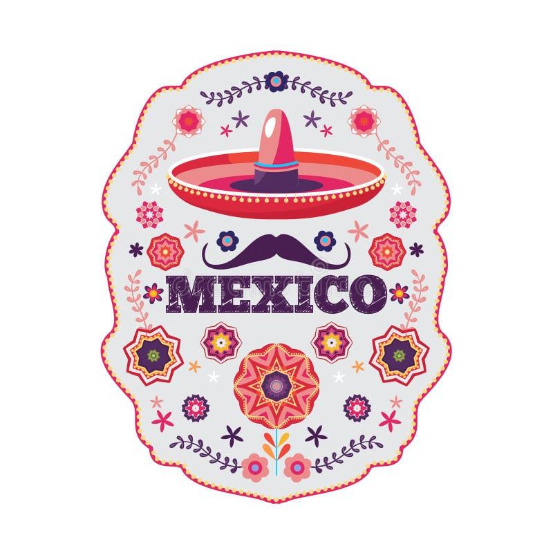 Мексиканская картина, красивый этнический орнамент иллюстрация штока