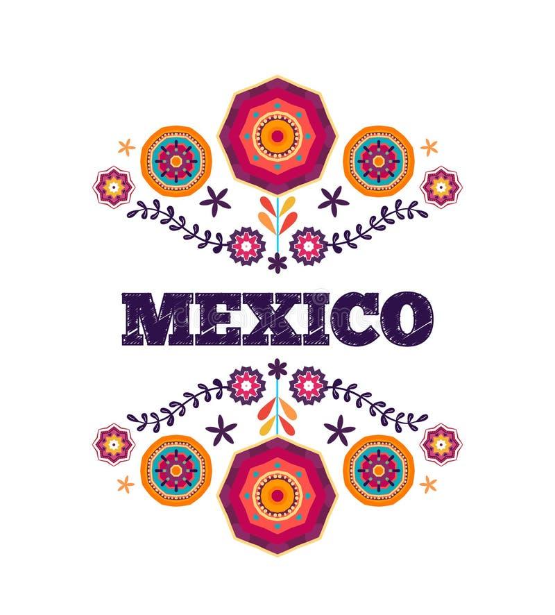 Мексиканская картина, красивый этнический орнамент иллюстрация вектора