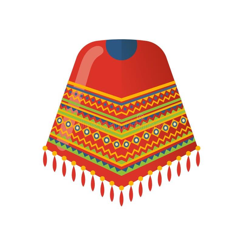 Мексиканская красивая сделанная по образцу накидка на плечах, плащпалата одевает традиционное бесплатная иллюстрация