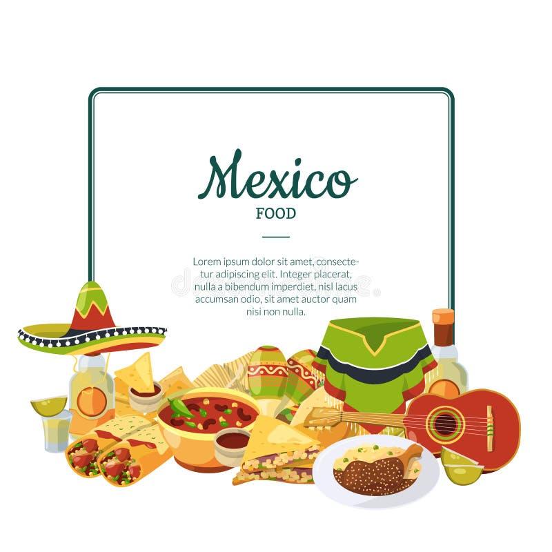 Мексиканская кухня мультфильма вектора под рамкой с местом для иллюстрации текста бесплатная иллюстрация
